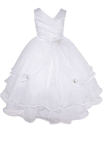 Easter Dress Dresses Girls' White Little Communion Wedding Girl Pageant Inc Flower AMJ 0vn7OCv