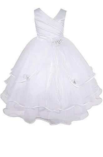 AMJ Dresses Inc Big-Girls' White Flower Girl Communion Dress Q138 Sz -
