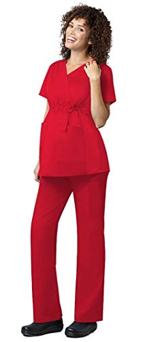 WonderWink WonderWork Women's Maternity High Waist Top 145 & Pants 545 Medical Uniforms Scrub Set