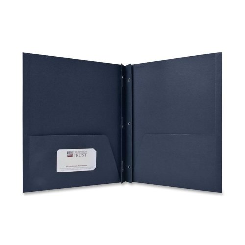 Wholesale CASE of 15 - Sparco 2-Pocket Folders w/ Fasteners-2-Pocket Folders,w/Fasteners,1/2'' Cap,Letter,25BX,Dark Blue