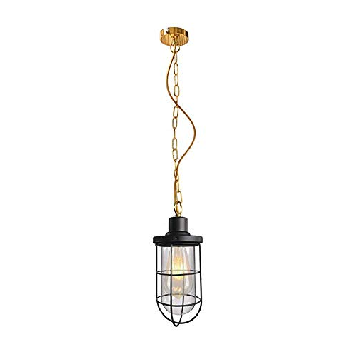 (Xungzl Simplicity Vintage E27 Industrial Nautical Fishermans Black Iron Metal Hanging Ceiling Lamp Glass Shade Pendant Light with Edison Filament Bulb 110V-240V)