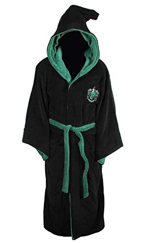 (Official Harry Potter Hogwarts Slytherin Wizard Fleece Dressing Gown Bathrobe)