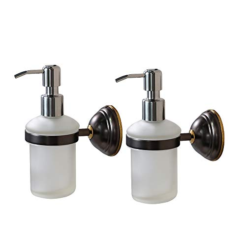 Crown Hand Soap Dispenser Oil Rubbed Bronze Wall Mount Liquid Soap Dispenser for Bathroom Kitchen Sink Dish Wash, Solid Brass Holder-Rust Resistance, Chrome Pump (8 oz) 2 Pack