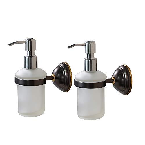 Crown Hand Soap Dispenser Oil Rubbed Bronze Wall Mount Liquid Soap Dispenser for Bathroom Kitchen Sink Dish Wash, Solid Brass Holder-Rust Resistance, Chrome Pump (8 oz) 2 Pack ()