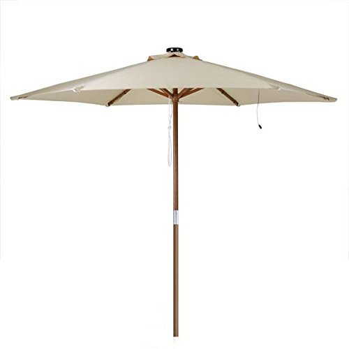 8 Ft Outdoor Wooden Market Patio Umbrella w/ Solar LED Lights by GC Global Direct