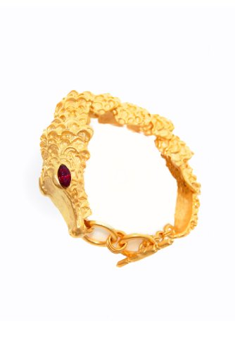 (Kenneth Jay Lane Gold Alligator Bracelet )