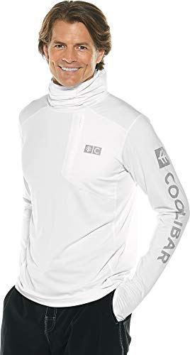 Coolibar UPF 50+ Men's Fishing Hoodie Tee - Sun Protective (Medium- White) by Coolibar (Image #1)