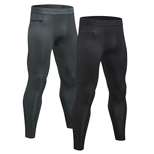Niksa Gym Gym Compressiebroek voor heren 2-pack, sportlegging Legging Basislaagbroek Cool Dry Breathable