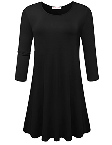 3/4 sleeve black shirt dress - 6