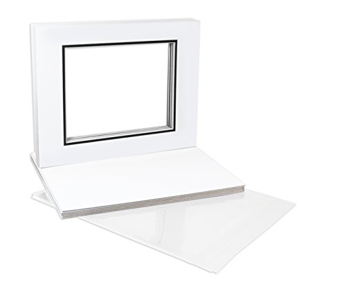 Golden State Art, Pack of 10 11x14 Double Picture Mats with White Core Bevel Cut for 8x10 Pictures + Backing + Bags, White Over Black (Backing Archival Surface Board)