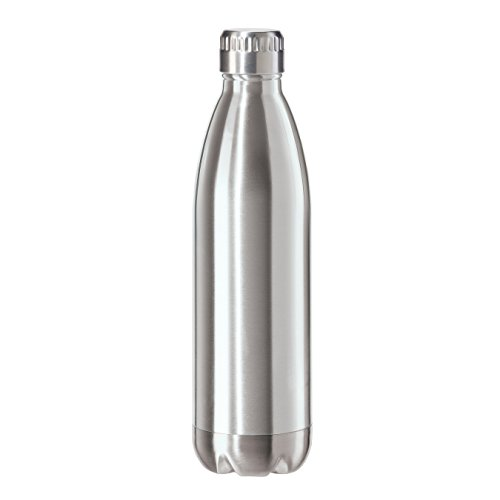 (Oggi 8086.0 Stainless Steel Calypso Double Wall Sports Bottle with Screw Top (0.75 Liter, 25oz)-Satin Lustre Finish)