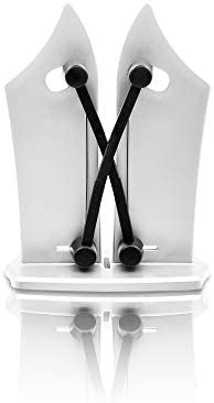FILUMM Afilador de Cuchillos Profesional y Cuchillo, Kinfe Sharpener Manual para Afilar Cualquier Cuchilla Lisa, Sierra y Tijeras, Incluye un Accesorio Cuchillo de Cocina de Acero Inoxidable de 37,5cm