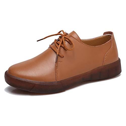 Femme en à pour de TRULAND Chaussures Basses Ville Marron Derby Lacets Cuir Derbies tqXPqw
