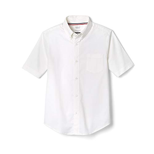 French Toast Big Boys' Short Sleeve Oxford Dress Shirt, White, 12 -
