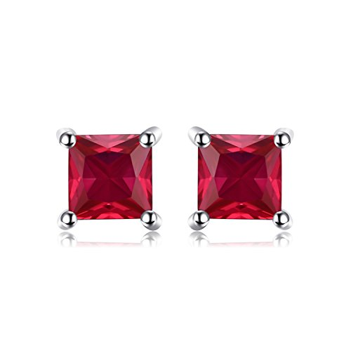 - Jewelrypalace Gemstones Stone Birthstone Created Ruby Stud Earrings For Women 925 Sterling Silver Earrings For Girls