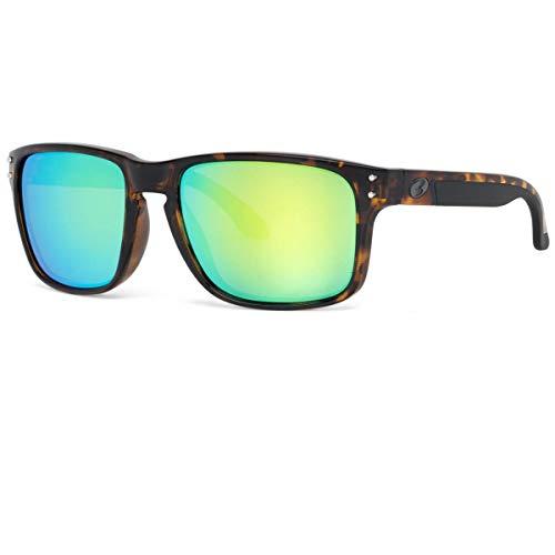 BNUS Italy made Classic Sunglasses Corning Real Glass Lens w. Polarized Option (Tortoise/Green Flash, ()