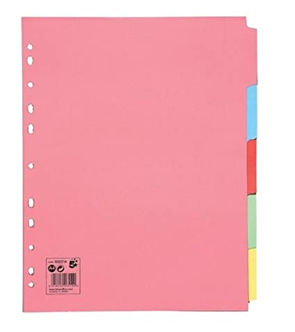 2XSubject Dividers Multipunched Manilla Board 5-Part Extra Wide A4 Assorted [Pack 10]