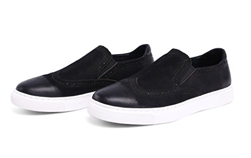 Dilize Men's Cow Leather Slip-On Brogue Sneakers Flats M5uOD