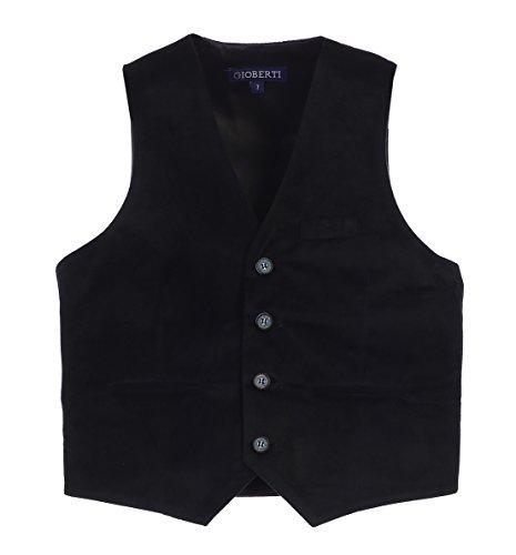 Gioberti Big Boys Velvet Formal Suit Vest, Black, Size 18