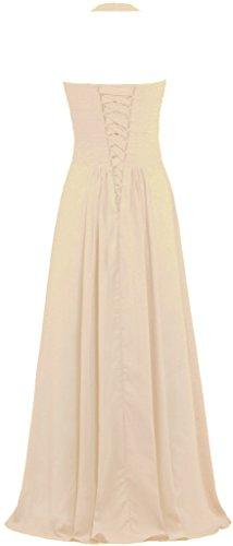 Les Robes De Demoiselle D'honneur Licol En Mousseline De Soie De Fourmis Femmes Long Champagne Robes De Soirée