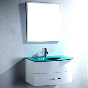meuble salle de bain vasque verre trempé