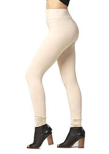 Soft High Waisted Leggings for Women - Full Length Nude Beige - Large/X-Large (12-22) - Plus
