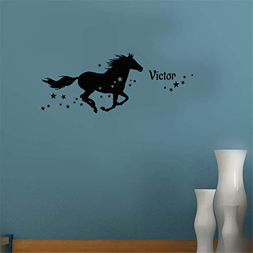 Mirror Cheval Childs (Removable Vinyl Decal Art Mural Home Decor Wall Stickers Personalized Name Et Le Cheval Étoilé for Nursery Kids Room Boys Girls Room)