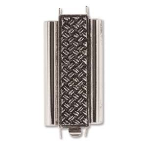 Antique Silver Patina - Box Style Bracelet Clasp - 10mm x 24mm - Rectangle with Crosshatch Design