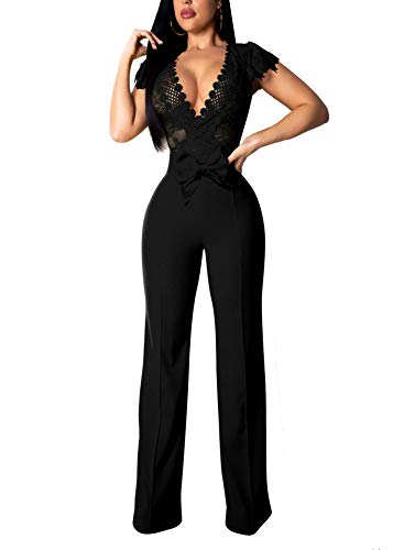 Womens Sexy Lace 1 Piece Outfits Deep V Neck Hollow Out Wide Leg Long Pants Jumpsuit Rompers -