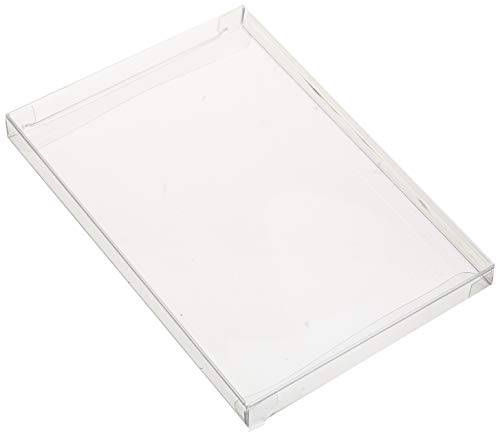 25 Crystal Clear Boxes (12 Mil) - Greeting Card Boxes Protect Photos, Party Favors, A7 Envelopes - Bulk Plastic Packaging Case for Stationery Storage, Gift Card Safe BOX5-3/8X5/8X7-3/8-B25]()