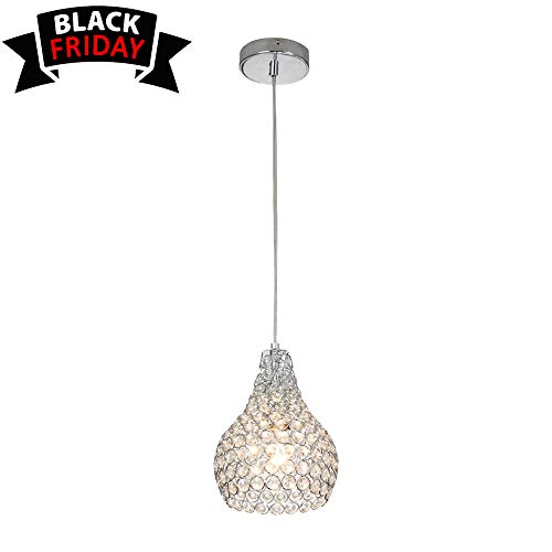 GLANZHAUS 1-Light Chrome Finish Mini Silver Round Clear Crystal Pendant Light, Hanging Chandelier Pendant Ceiling Lamp Fixture