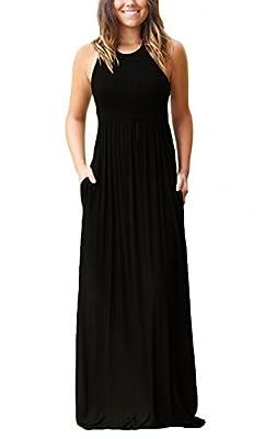 Muhadrs Women's Sleeveless Racerback Loose Plain Maxi Dresses Casual Long Dresses with Pockets
