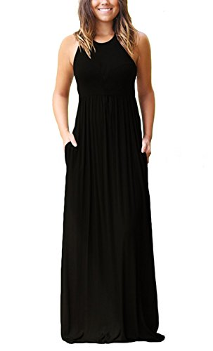 (GRECERELLE Women's Round Neck Sleeveless A-line Casual Maxi Dresses with Pockets Black-L)