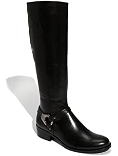 Amazon.com | Via Spiga Women's Idola Riding Boot, Black Leather, 5 ...