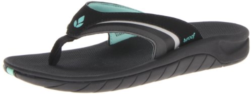 Reef Surf Girls Sandals - Reef Women's Slap 8, Black/Aqua, 8 M US