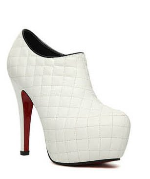 Pumps Heel Platform Womens High Pu Fashion Ankle White Leather PU Leather Boots wItAtdq
