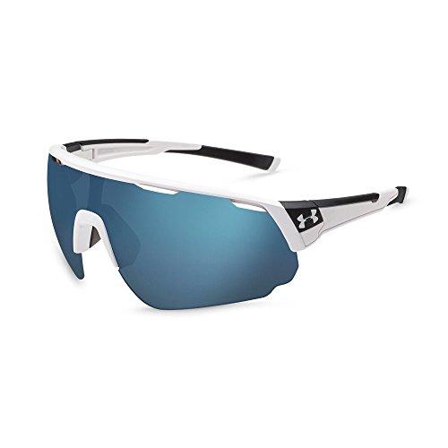 (Under Armour Change Up Wrap Sunglasses, UA CHANGEUP SATIN WHITE/BLACK FRAME/BASEBALL TUNED LENS, XL)
