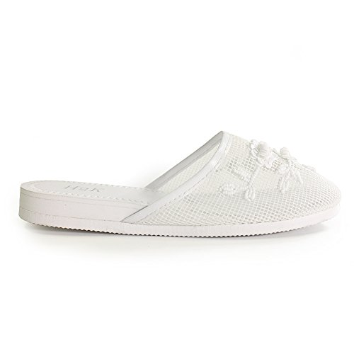 Mesh Lightweight Slippers Floral Flat Women's 'SYLVIA' with Original Embellishment Ventilated Super White H2K Zw84Xqx1x