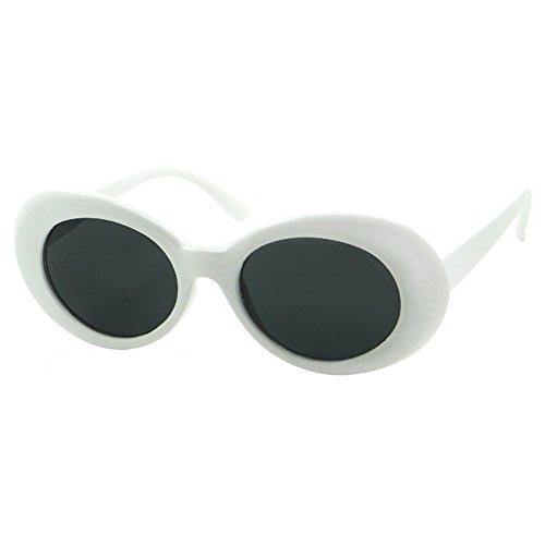 White Oval Retro Sunglasses Mod Round Clout Glasses