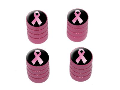 Breast Cancer Pink Ribbon on Black - Tire Valve Stem Caps - Pink