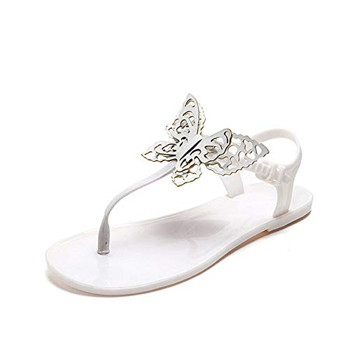 heipeiwa Women's Ankle T-Straps Butterfly Flip Flops Sandal Jelly Thong Sandals White