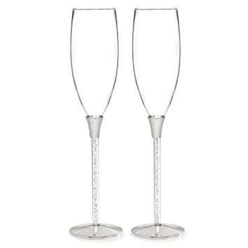 Crystal Filled Toasting Flutes with Mini Metal Love Favor Frame