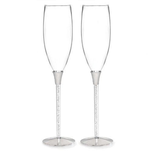 (Crystal Filled Toasting Flutes with Mini Metal Love Favor Frame)