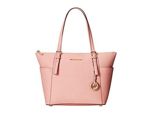 MICHAEL Michael Kors Jet Set Top-Zip Leather Tote Pale Pink