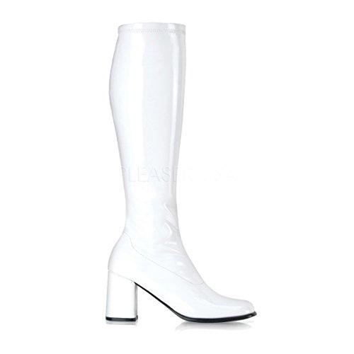 300 (6) White Gogo Boots Patent Women's (60s Boots)