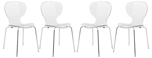LeisureMod Carson Mid-Century Dining Side Chairs, Set of 4 (Clear)