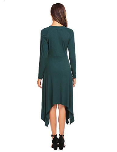 Zeela Damen Strickkleid Langarmes Asymmetrisches Kleid Partykleid ...
