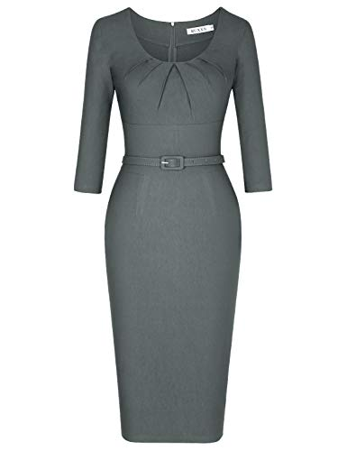 MUXXN Lady 1960s Elegant Scoop Neck Tunic Slim Tea Party Bodycon Dress (Gray XL) -