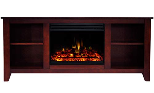 Cambridge Santa Monica Heater with 63-in. Cherry TV Stand, Enhanced Log Display, Multi-Color Flames, and Remote, CAM6226-1CHRLG3 Electric Fireplace