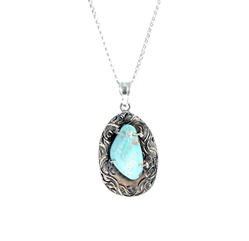DRY CREEK TURQUOISE PENDANT Etched Sterling